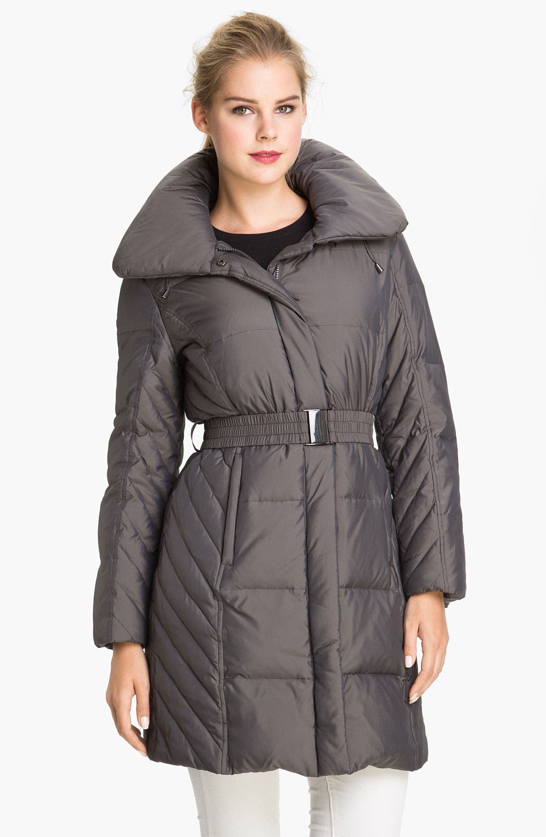 Alternate Image 1 Selected - Gallery Quilted Coat with Detachable Hood (Petite)