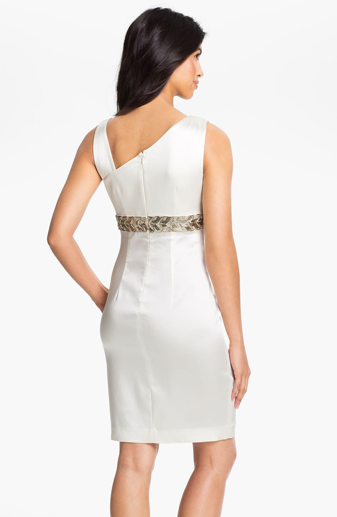 Alternate Image 2  - Calvin Klein Beaded Waist Satin Sheath Dress