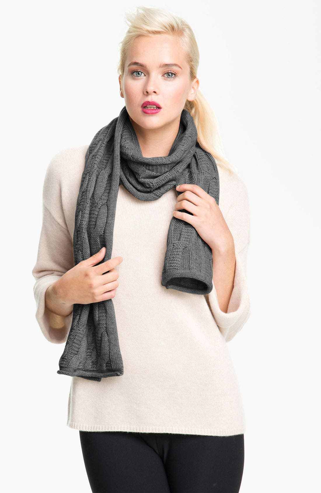 Alternate Image 1 Selected - Nordstrom Textured Cable Knit Cashmere Scarf