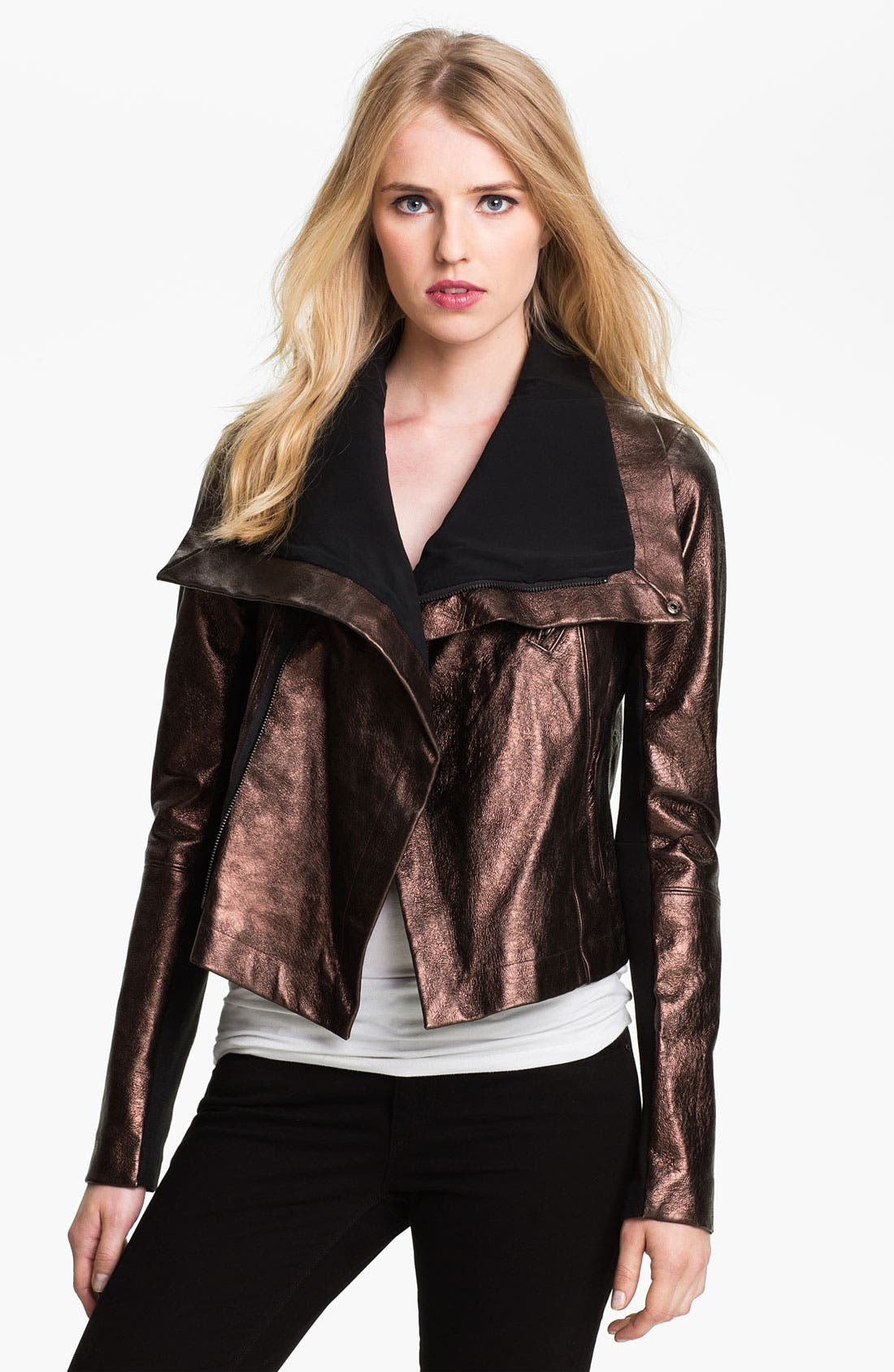 Alternate Image 1 Selected - Veda 'Max' Metallic Leather Moto Jacket