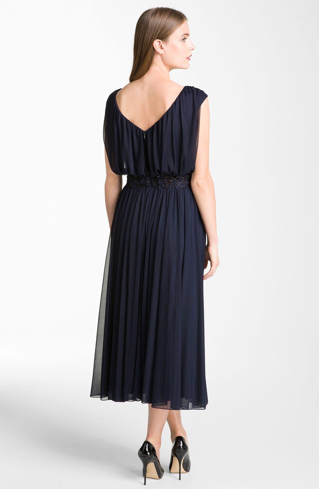 Alternate Image 2  - Alex Evenings Blouson Mesh Midi Gown (Petite)