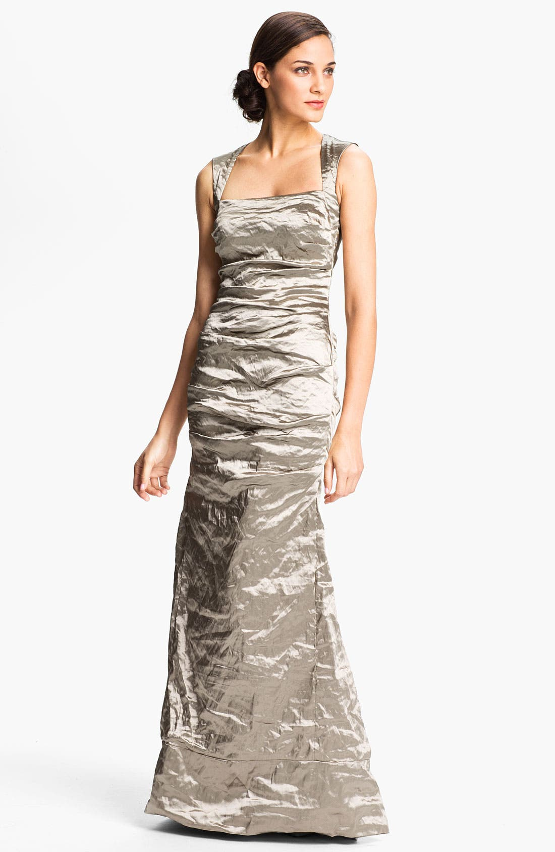 Main Image - Nicole Miller Open Back Pleated Metallic Trumpet Gown