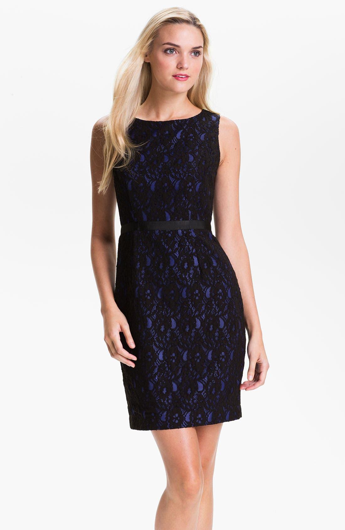 Alternate Image 1 Selected - Calvin Klein Sleeveless Lace Overlay Sheath Dress