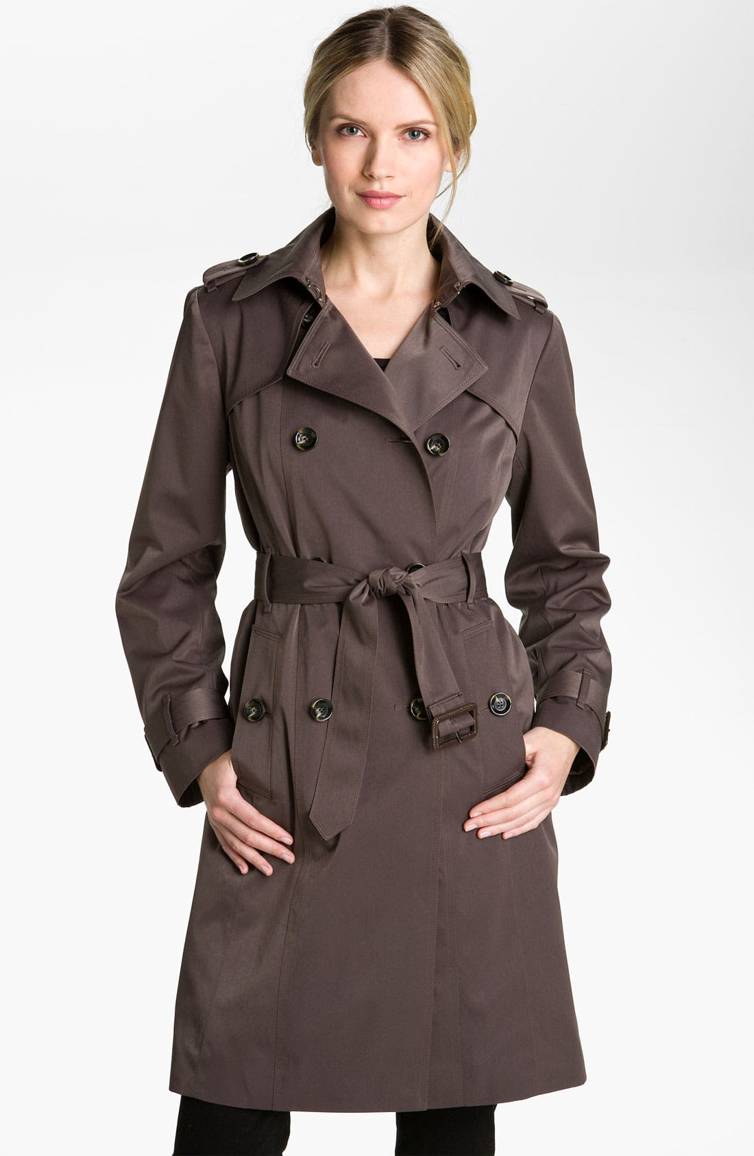 Main Image - London Fog Double Breasted Rain Trench Coat (Petite) (Online Exclusive)