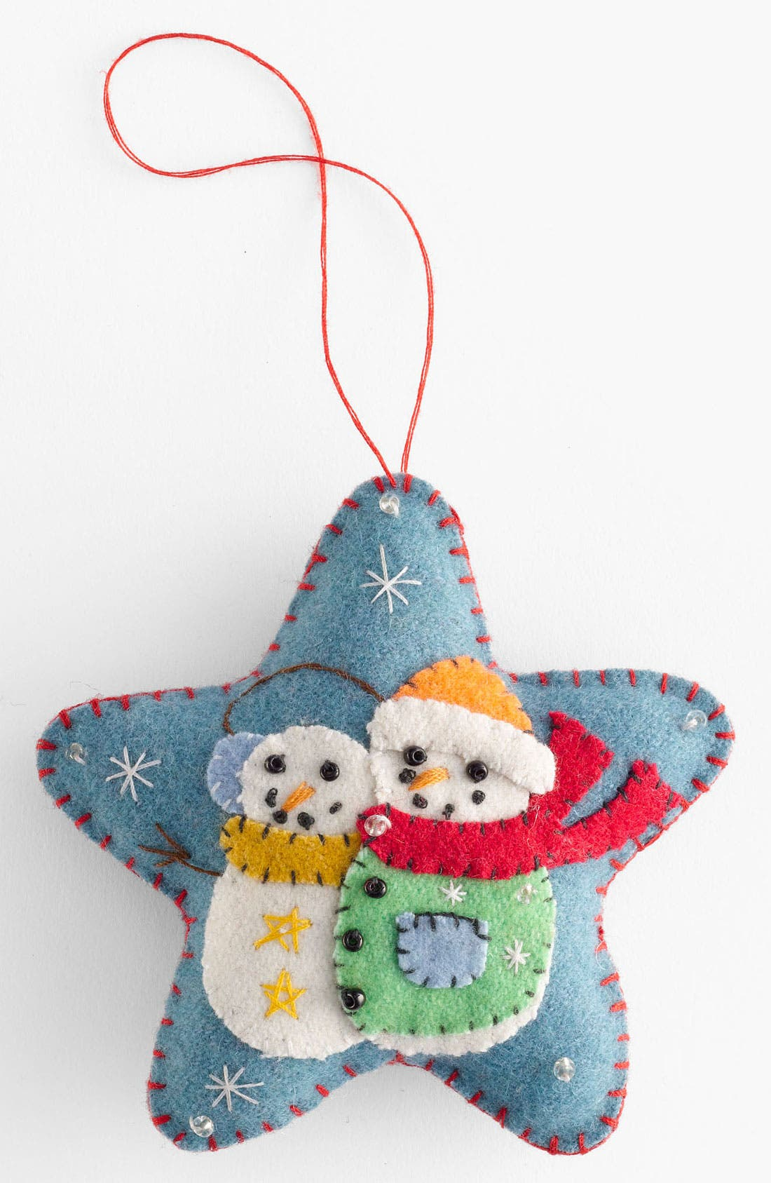 Main Image - New World Arts 'Puffy Star with Two Snowmen' Ornament