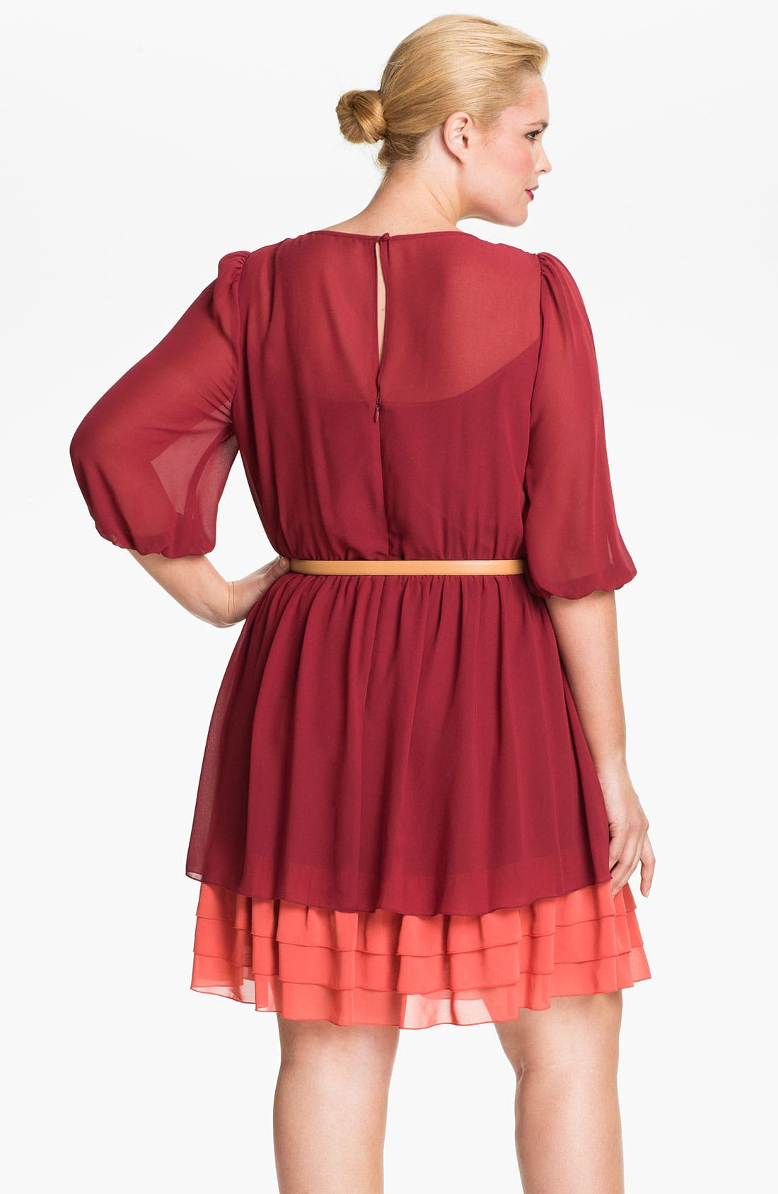 Alternate Image 2  - Jessica Simpson Pleated Chiffon Blouson Dress (Plus)