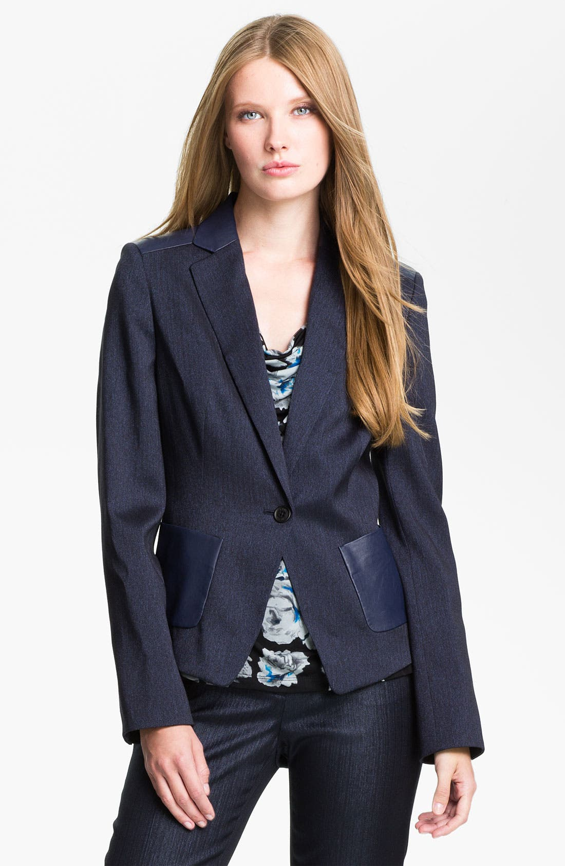 Alternate Image 1 Selected - Anne Klein Herringbone Jacket (Petite)