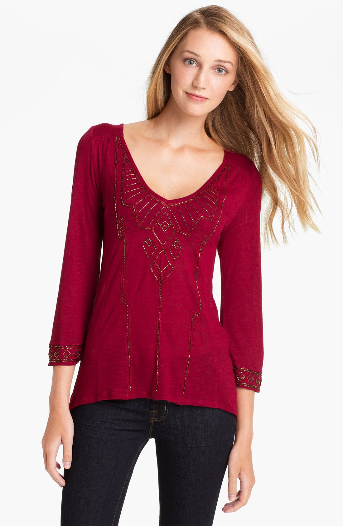 Alternate Image 1 Selected - Lucky Brand Beaded Top