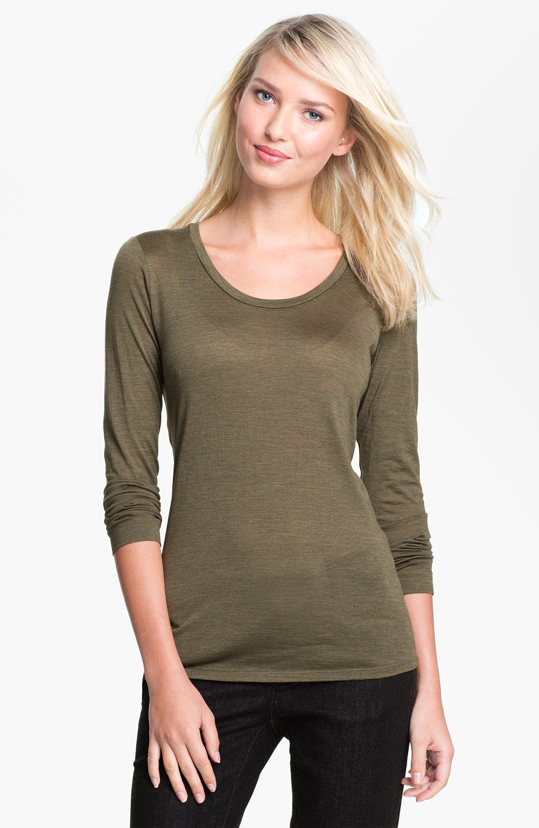 Alternate Image 1 Selected - Eileen Fisher Slim Silk Blend Tee