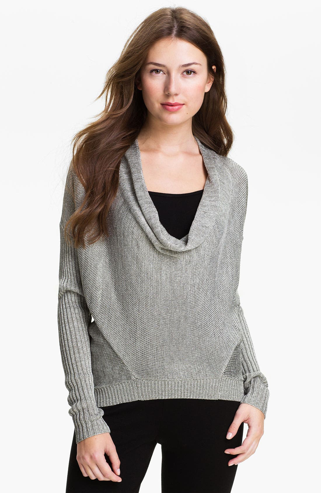 Alternate Image 1 Selected - Vince Camuto Drape Neck Metallic Knit Sweater