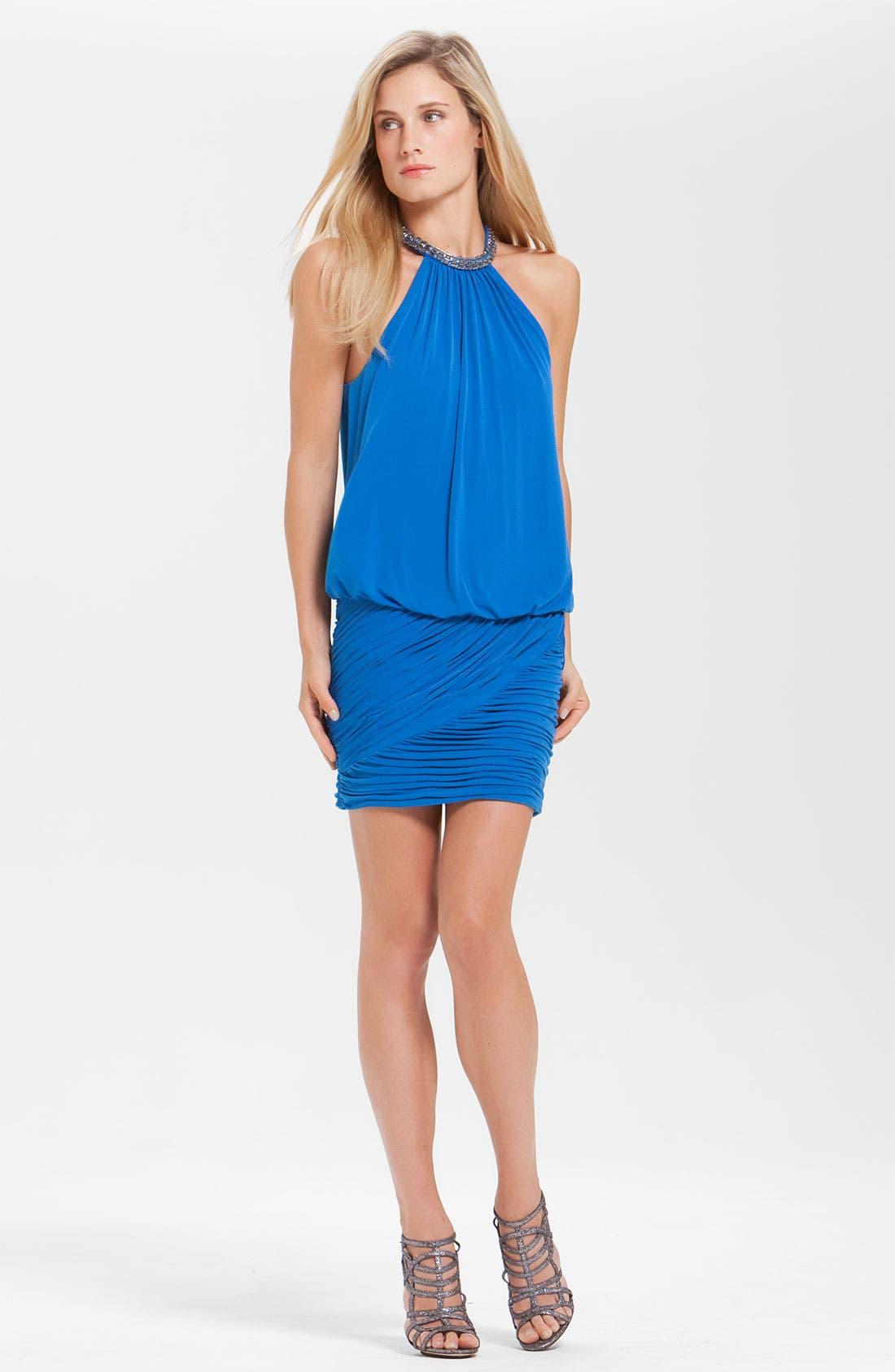 Main Image - Laundry by Shelli Segal Jewel Collar Jersey Blouson Dress