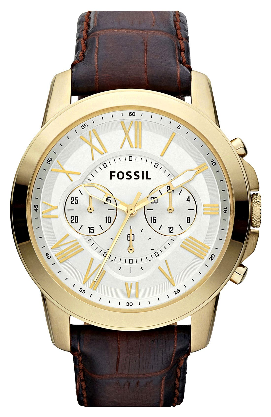 Main Image - Fossil 'Grant' Round Chronograph Watch, 44mm