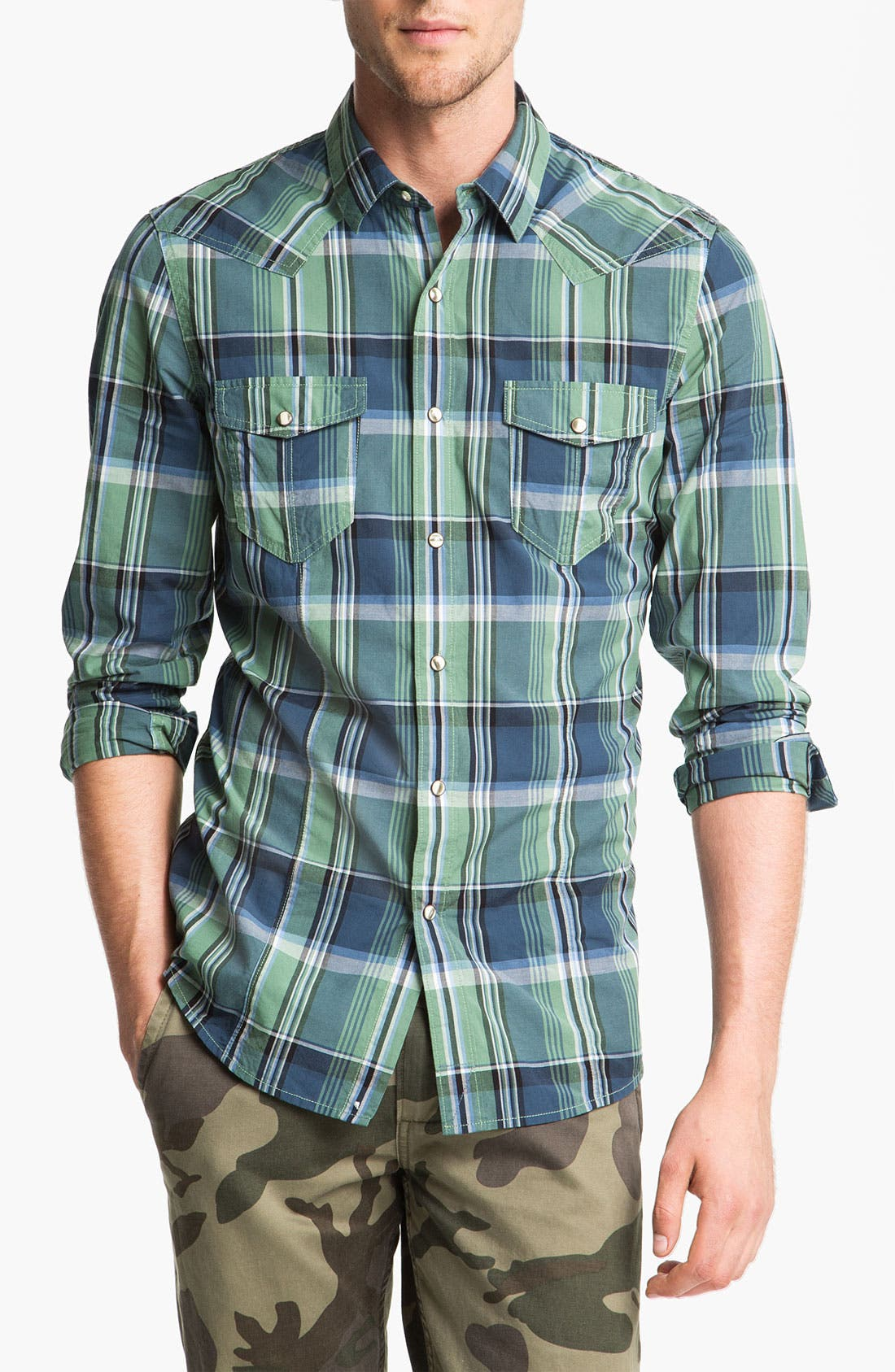 Alternate Image 1 Selected - Public Opinion Plaid Poplin Western Shirt
