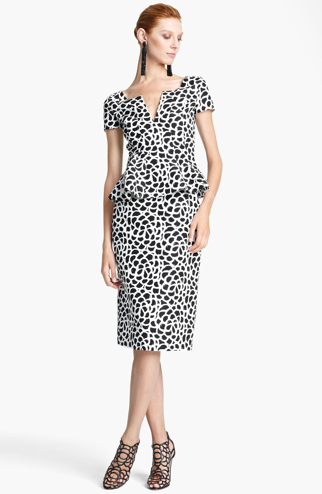 Alternate Image 1 Selected - Oscar de la Renta Print Silk Faille Dress