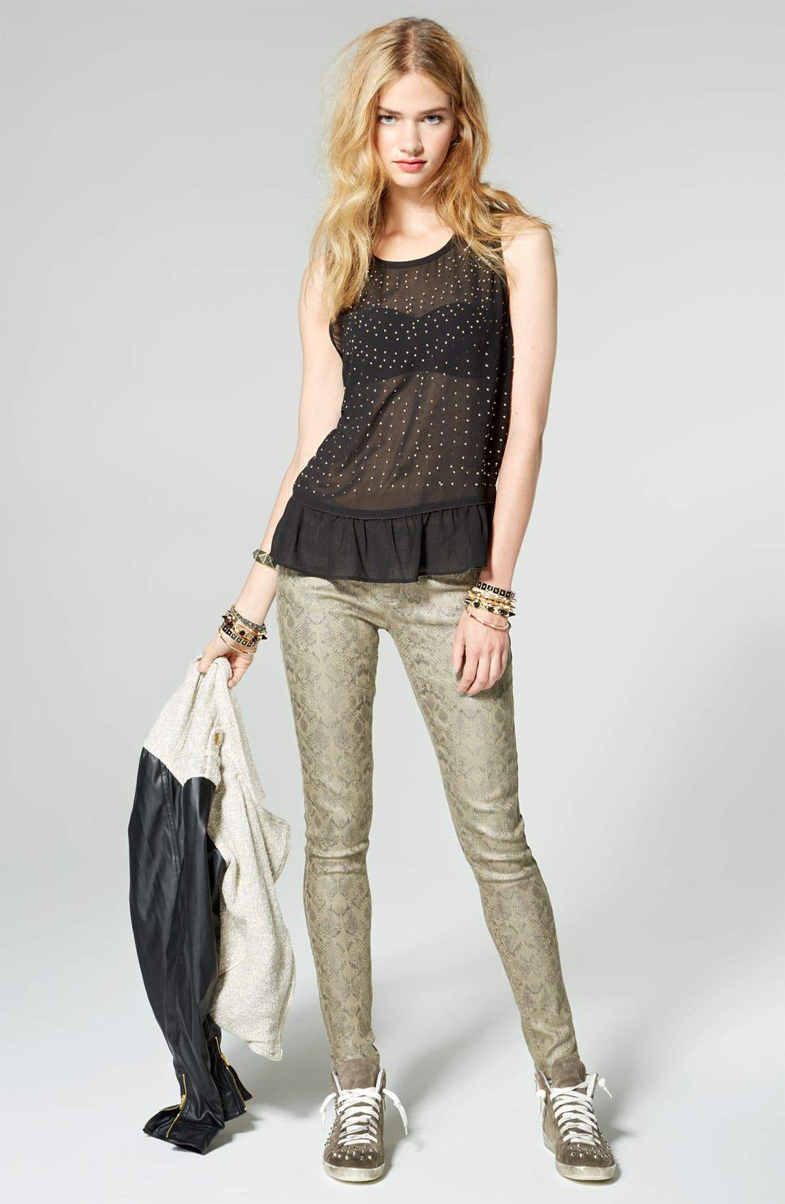 Alternate Image 3  - Fire Metallic Snake Print Skinny Jeans (Juniors)