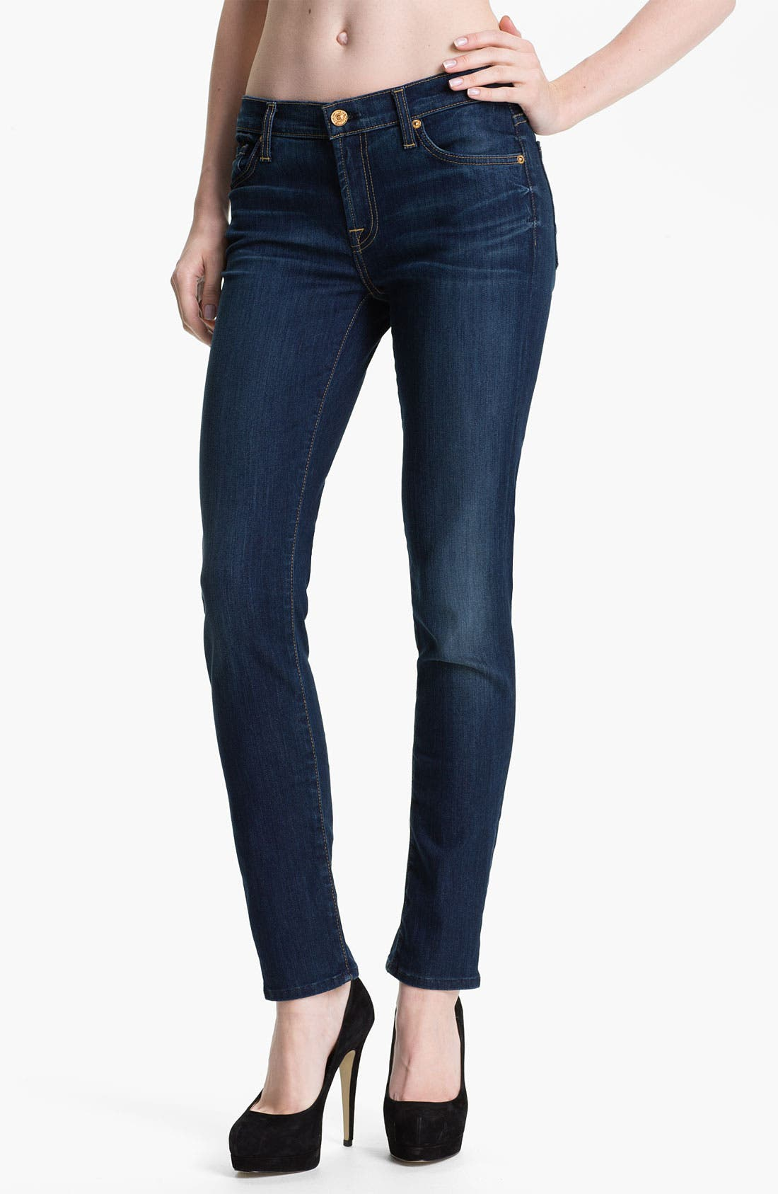 Main Image - 7 For All Mankind® 'The Slim Cigarette' Stretch Jeans (Sophisticated Siren)