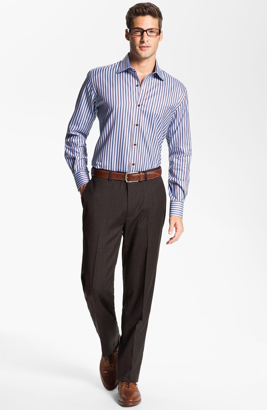 Alternate Image 4  - Peter Millar 'Hi Low' Flat Front Wool Trousers