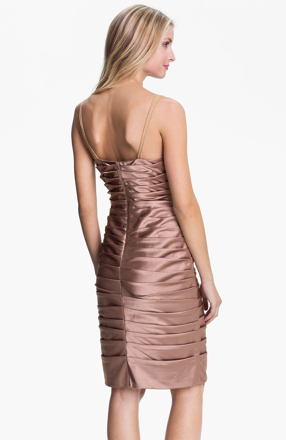 Alternate Image 3  - Adrianna Papell Reverse Pleat Satin Sheath Dress & Cuffed Bolero