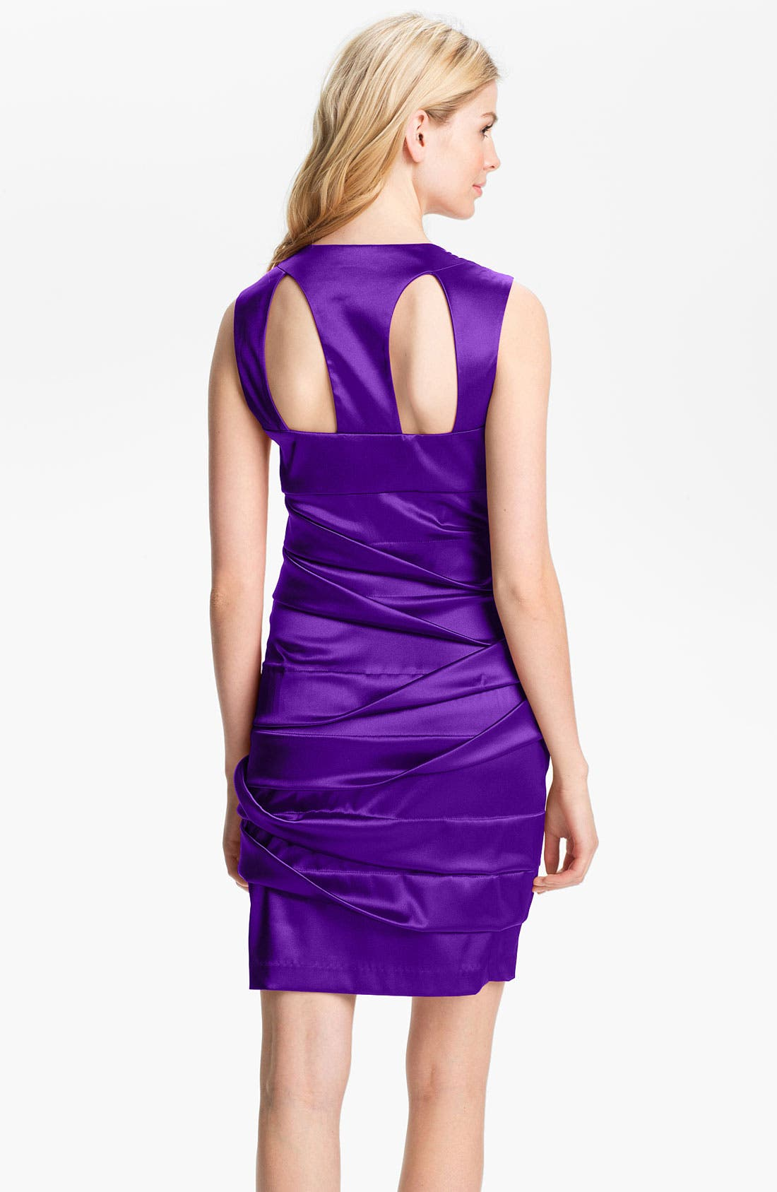 Alternate Image 2  - Hailey by Adrianna Papell Back Cutout Pleated Satin Dress