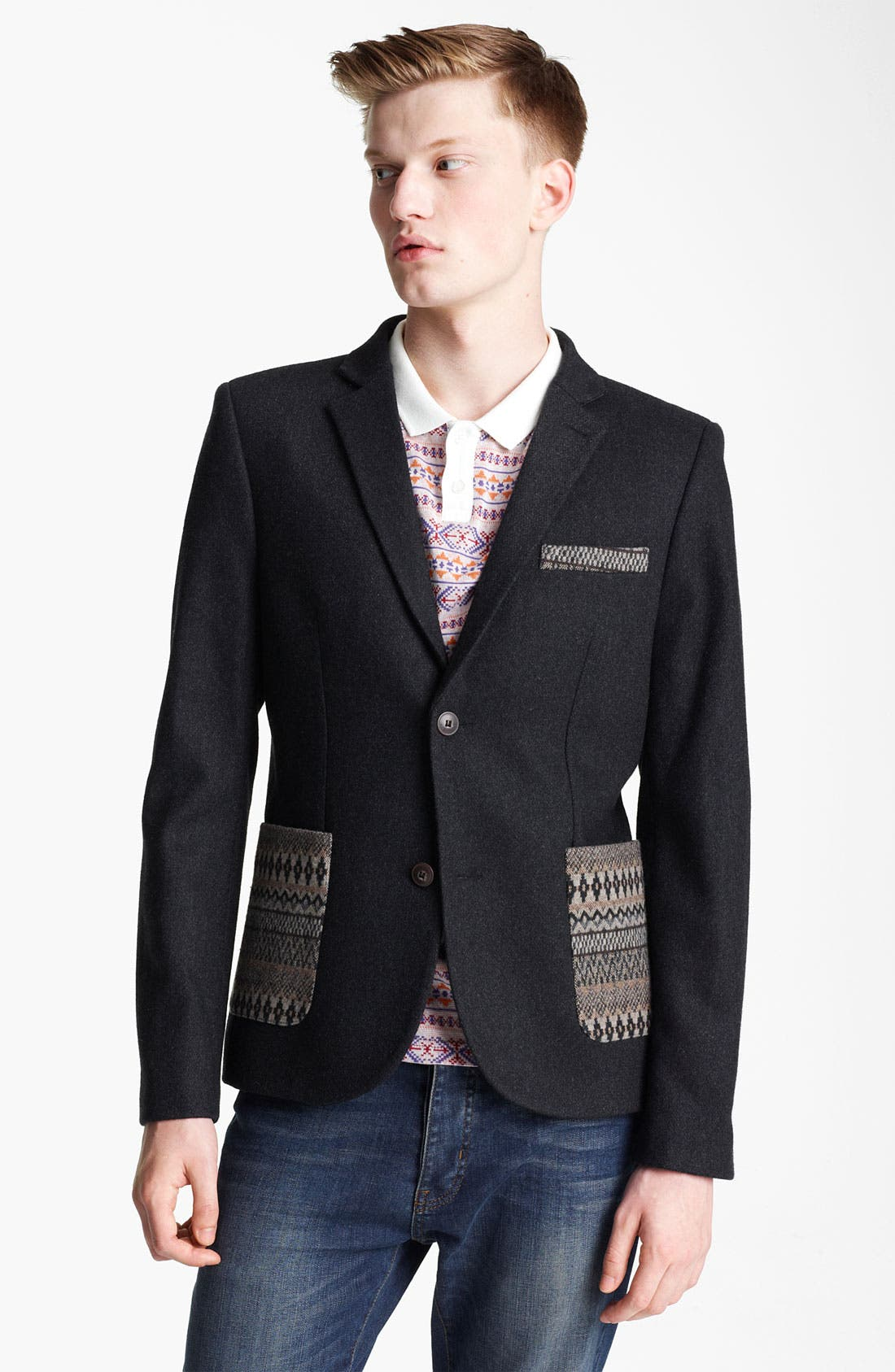 Alternate Image 1 Selected - Topman 'Aztec' Print Trim Blazer