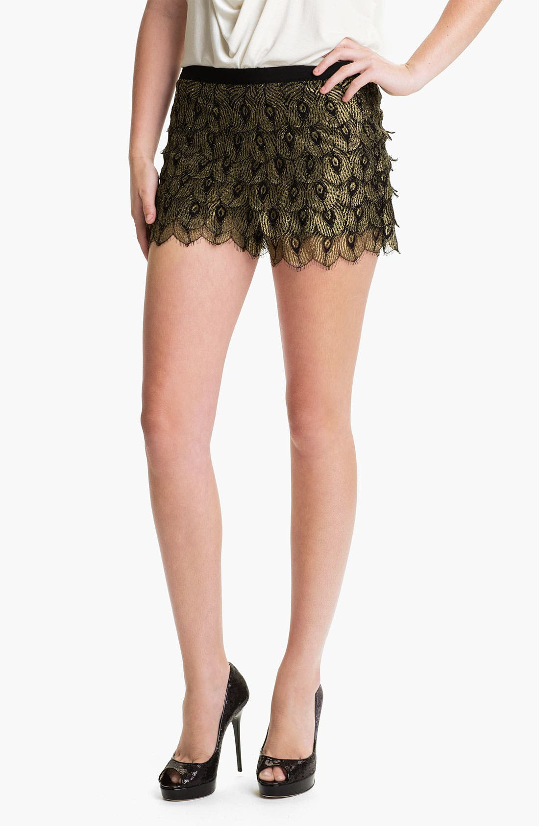 Main Image - Haute Hippie 'Gilded Peacock' Lace Shorts