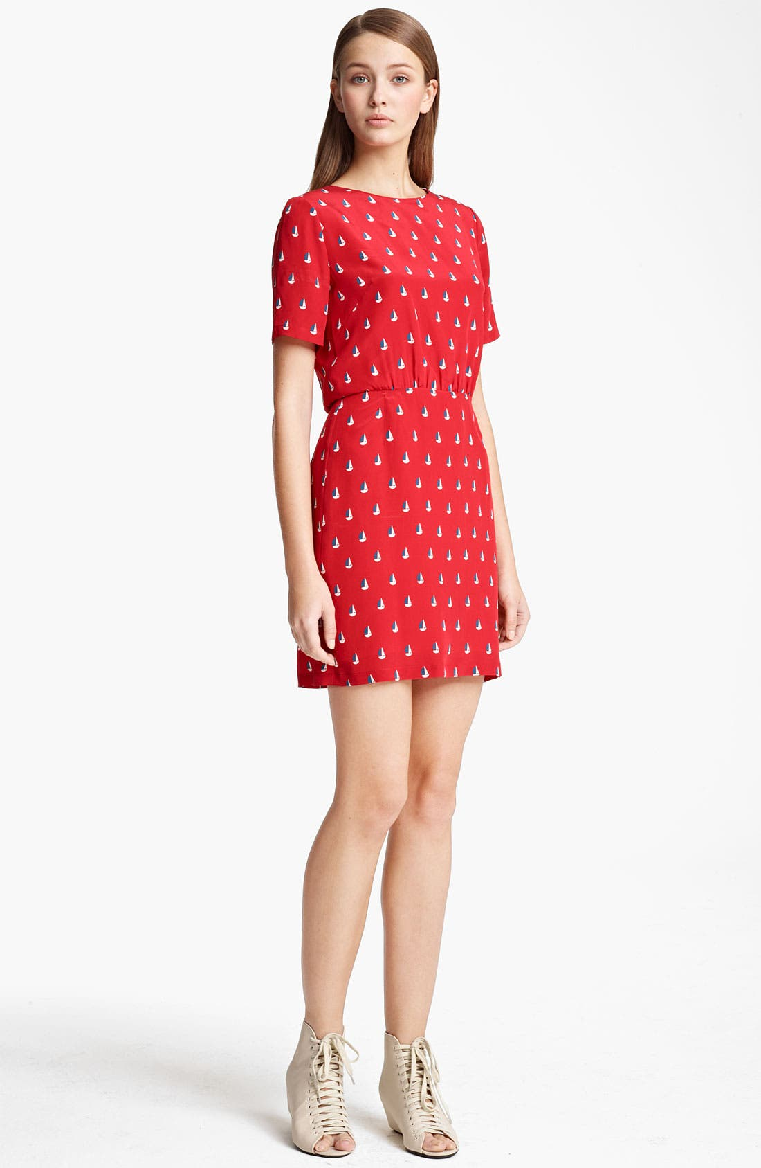 Main Image - Band of Outsiders Sailboat Print Crêpe de Chine Dress