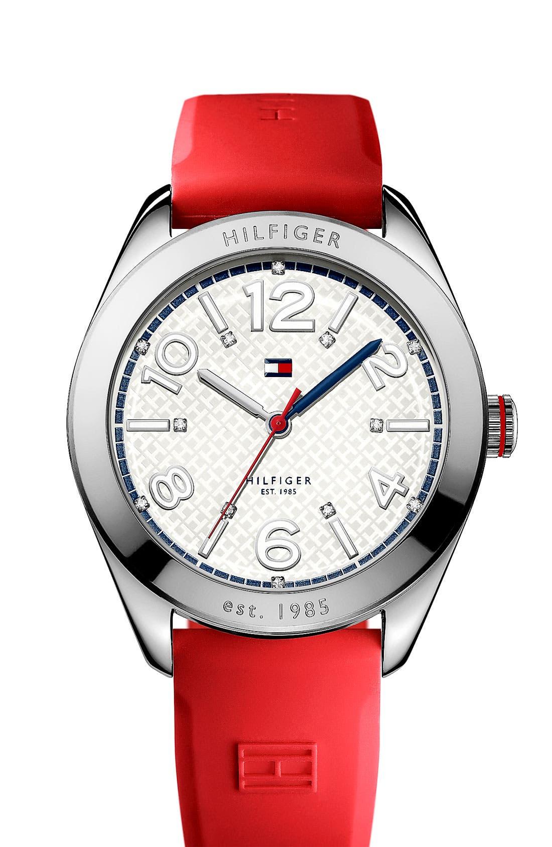 Main Image - Tommy Hilfiger 'Sport' Round Silicone Strap Watch, 40mm