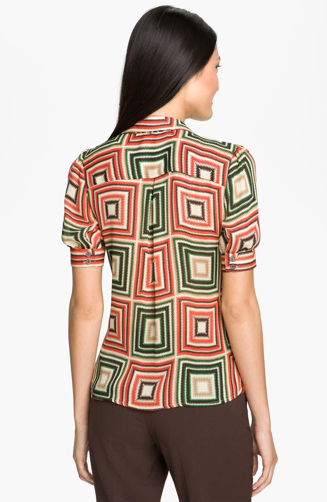 Alternate Image 2  - Vince Camuto Print Tie Neck Top (Petite)