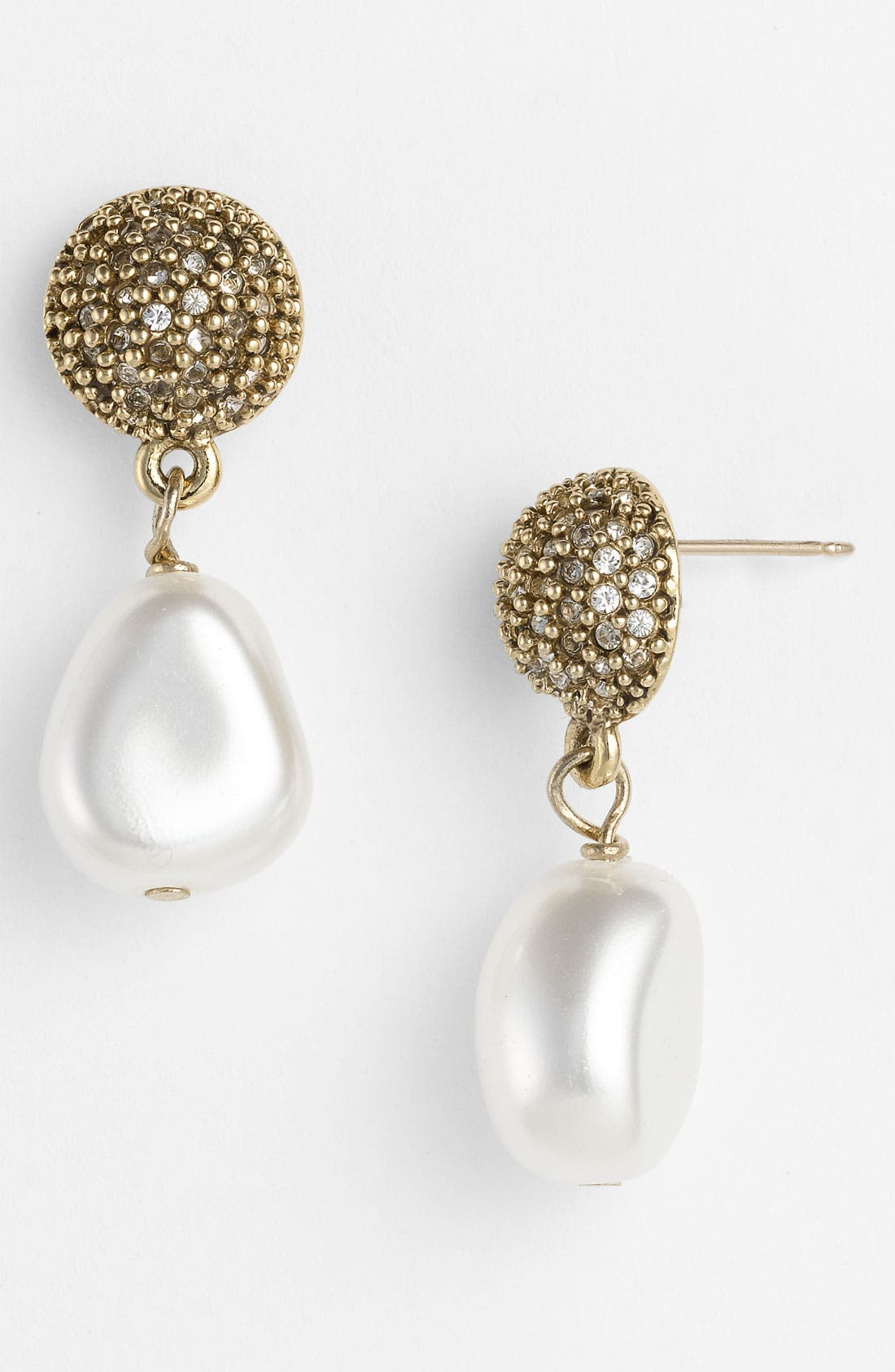 Alternate Image 1 Selected - St. John Collection Antique Gold Glass Pearl Earrings
