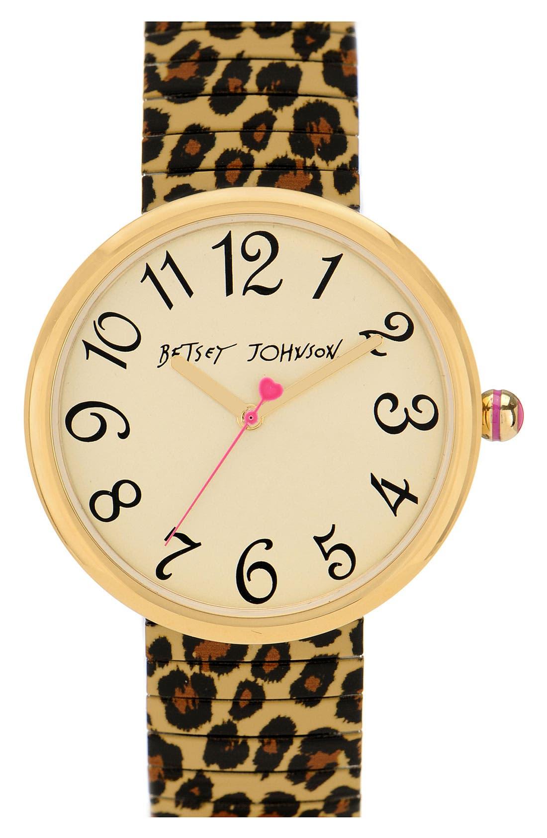 Alternate Image 1 Selected - Betsey Johnson Round Expansion Bracelet Watch