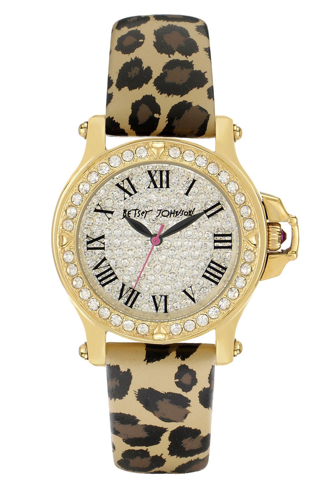 Main Image - Betsey Johnson Print Leather Strap Watch