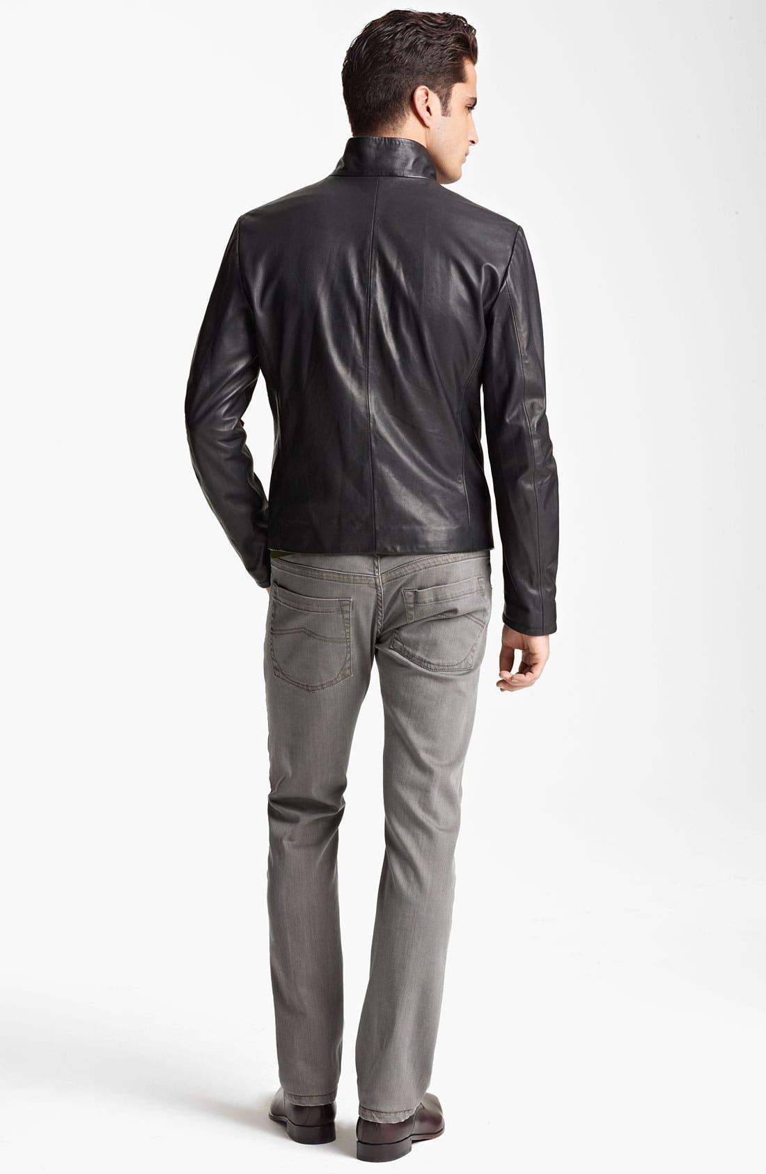Alternate Image 5  - Armani Collezioni Perforated Leather Jacket