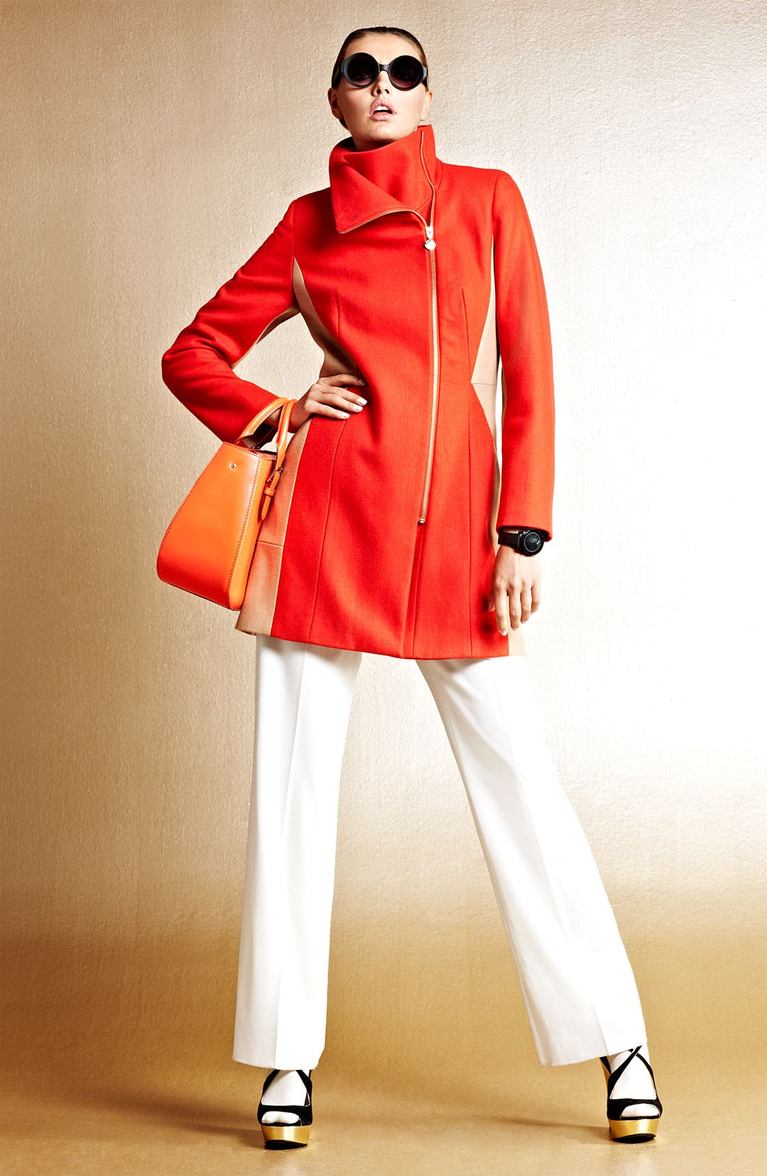 Alternate Image 4  - Calvin Klein Two Tone Asymmetrical Walking Coat