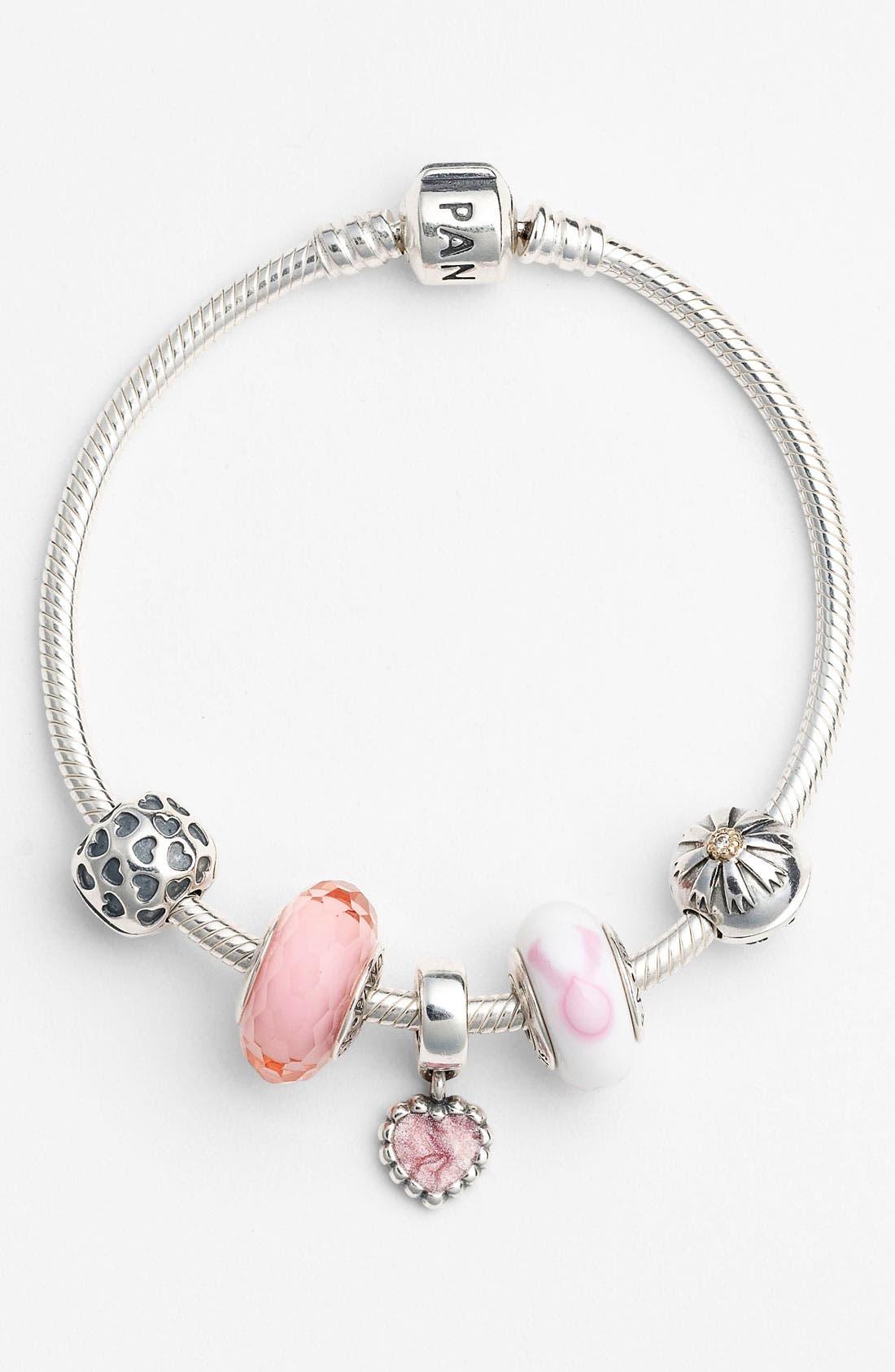 Alternate Image 2  - PANDORA Pink Ribbon Murano Glass Charm
