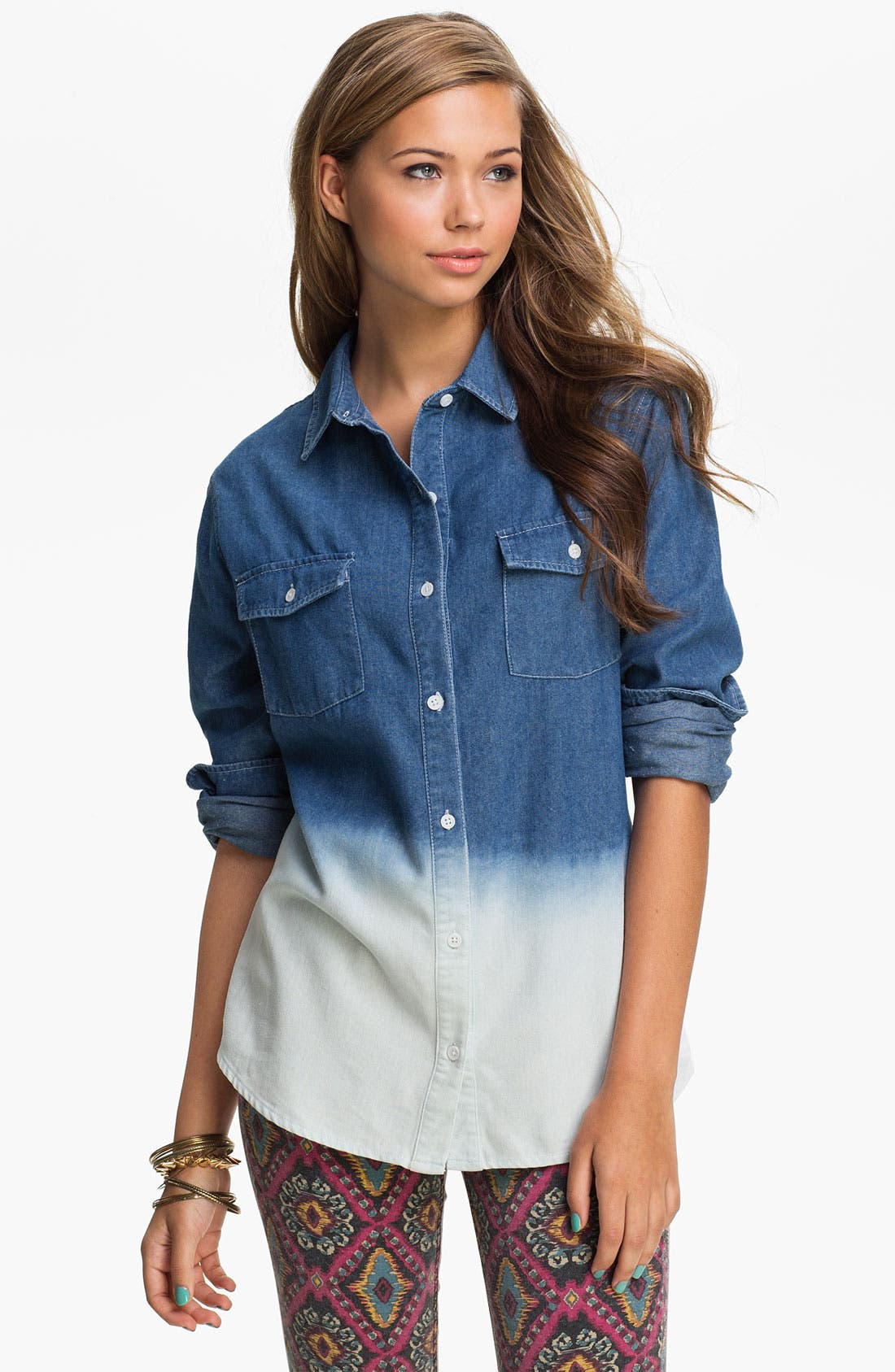 Alternate Image 1 Selected - Pretty Rebel Dip Dye Chambray Shirt (Juniors)