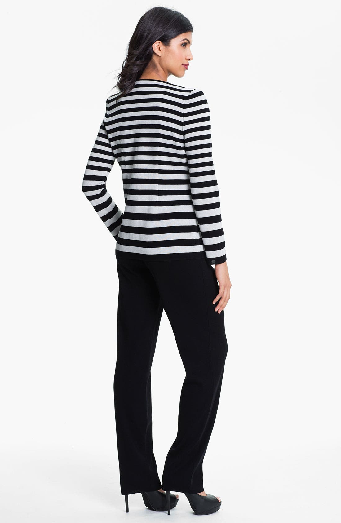 Alternate Image 5  - Exclusively Misook Stripe Knit Jacket
