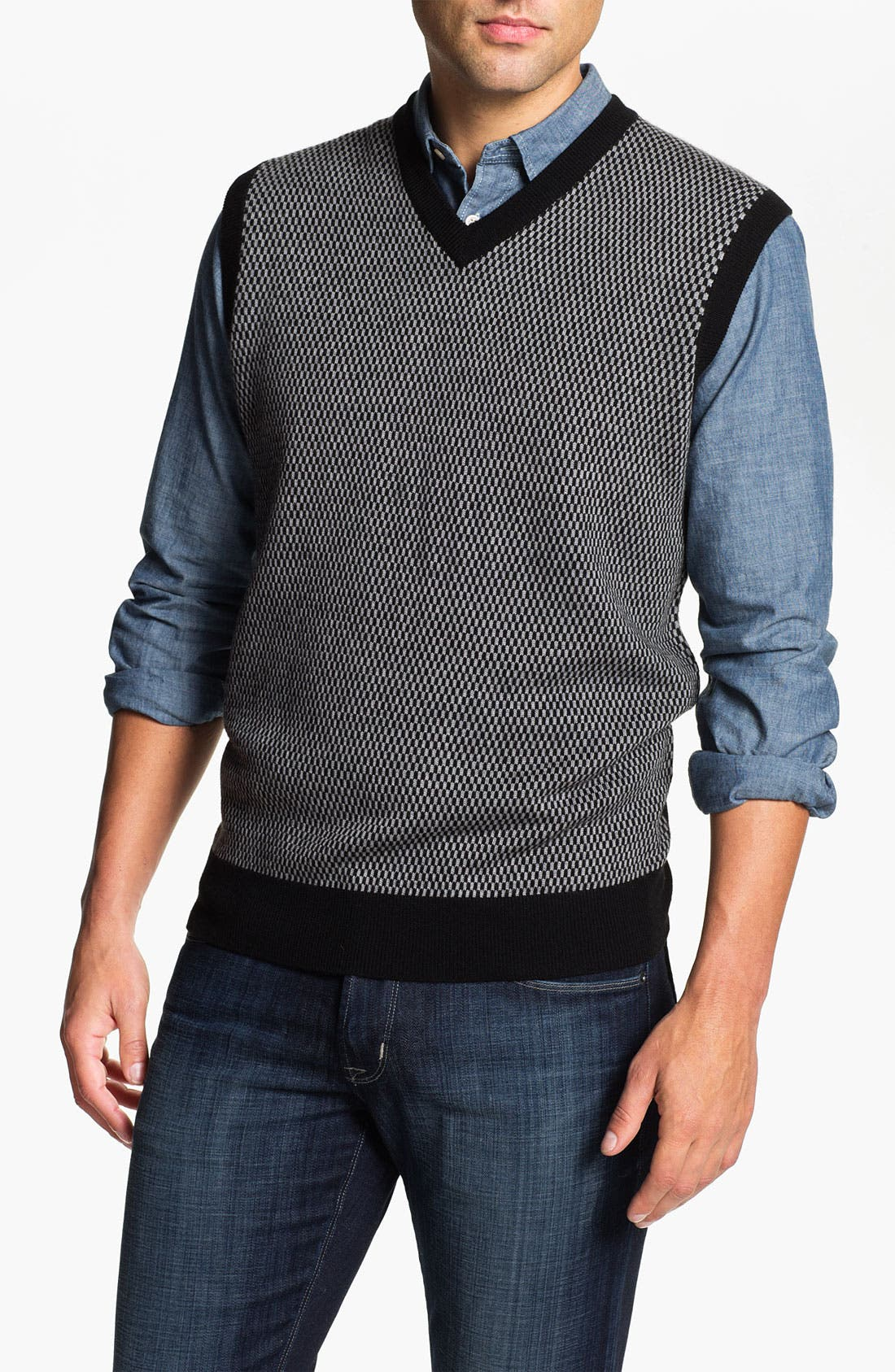 Alternate Image 1 Selected - Toscano Merino Wool Blend Sweater Vest