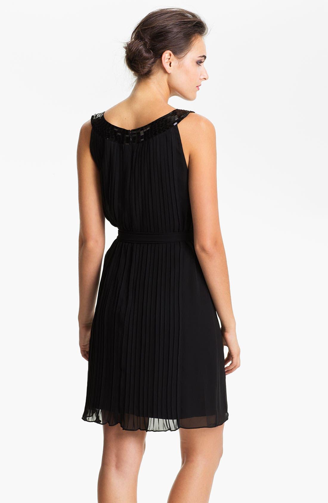 Alternate Image 2  - Calvin Klein Sequin Neck Pleated Chiffon Dress
