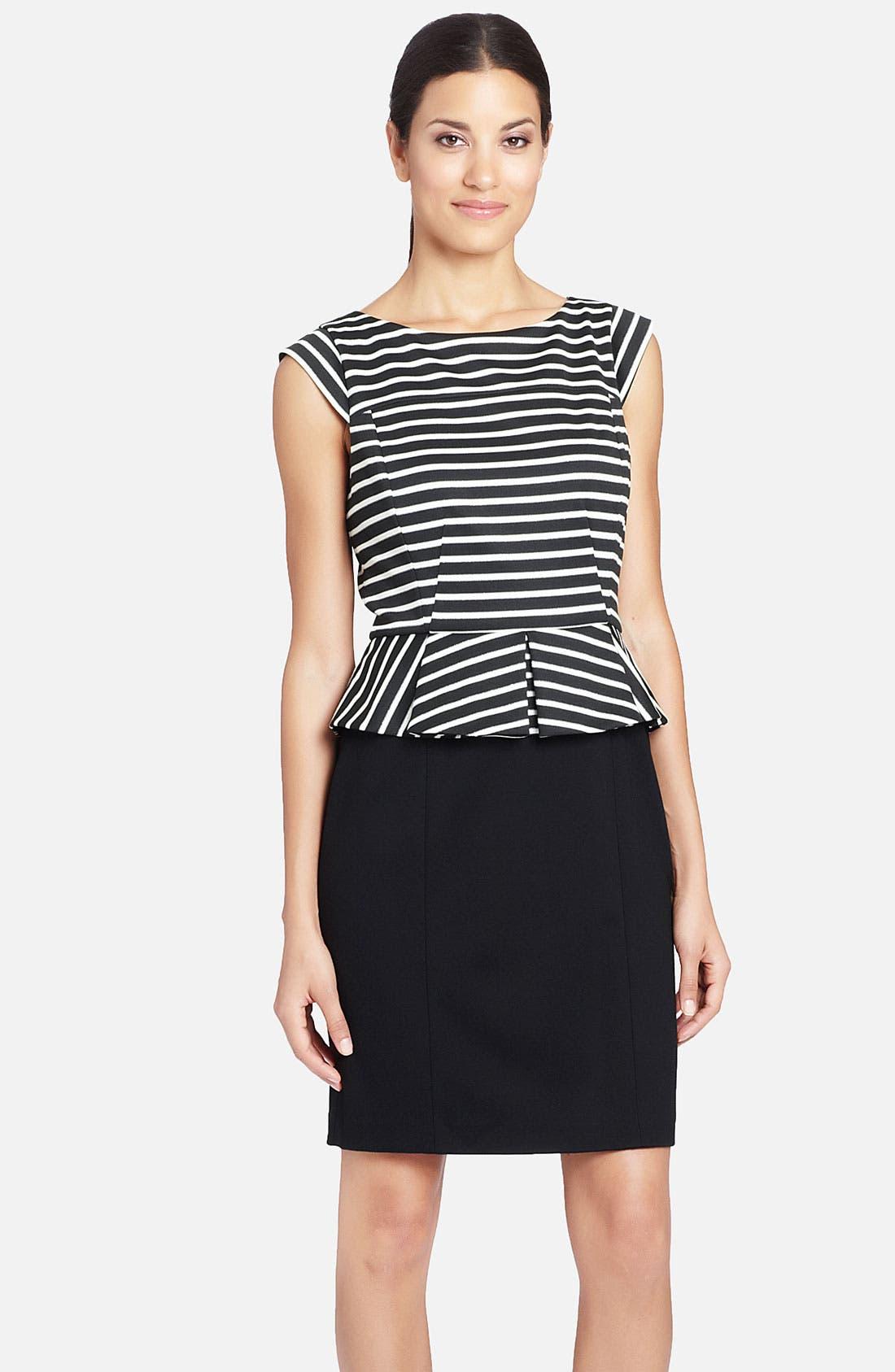 Alternate Image 1 Selected - Cynthia Steffe 'Dylan' Stripe Bodice Peplum Dress