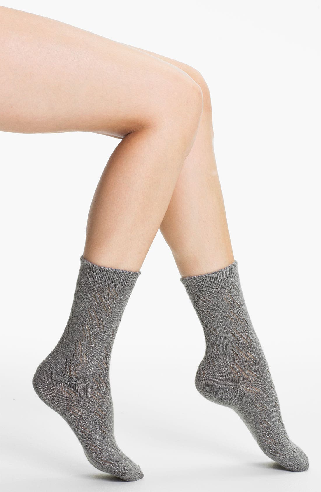 Alternate Image 1 Selected - Ralph Lauren Openwork Diamond Crew Socks