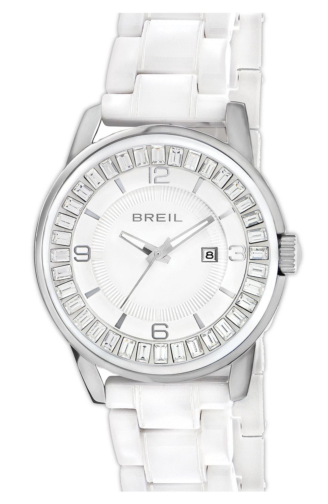 Alternate Image 1 Selected - Breil 'Orchestra' Baguette Crystal Ceramic Bracelet Watch, 40mm ($450 Value)