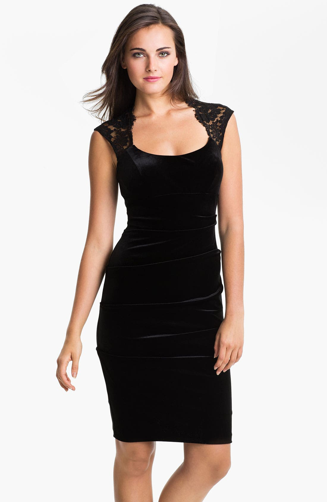 Alternate Image 1 Selected - Xscape Lace Shoulder Ruched Velvet Sheath Dress