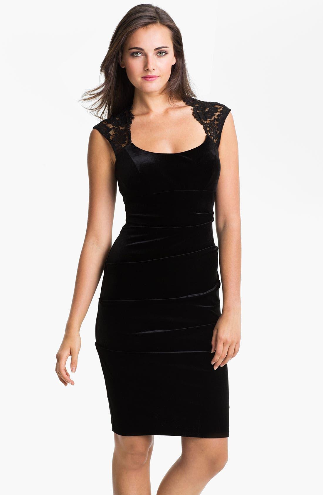 Main Image - Xscape Lace Shoulder Ruched Velvet Sheath Dress