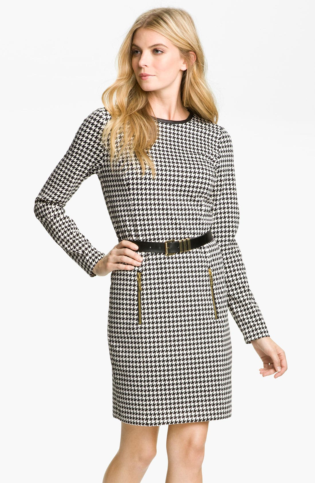 Main Image - MICHAEL Michael Kors Leather Trim Dress (Petite)