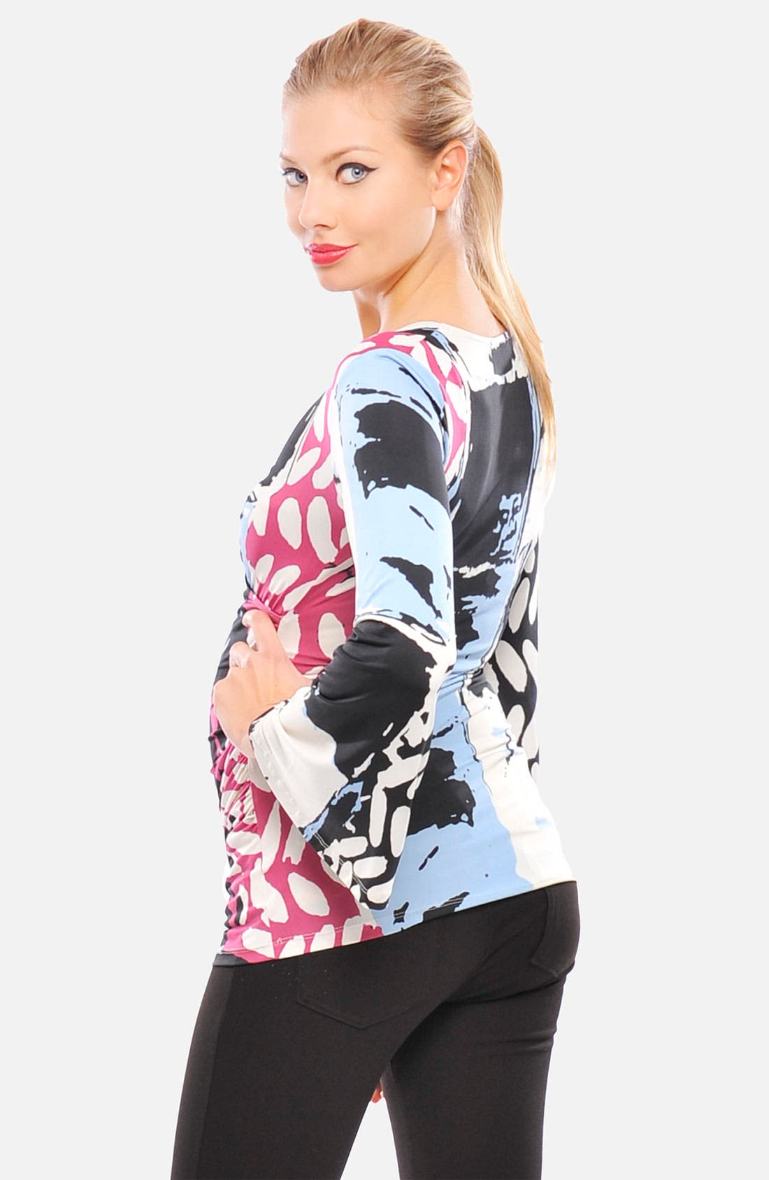 Alternate Image 2  - Olian Print Crossover Maternity Top
