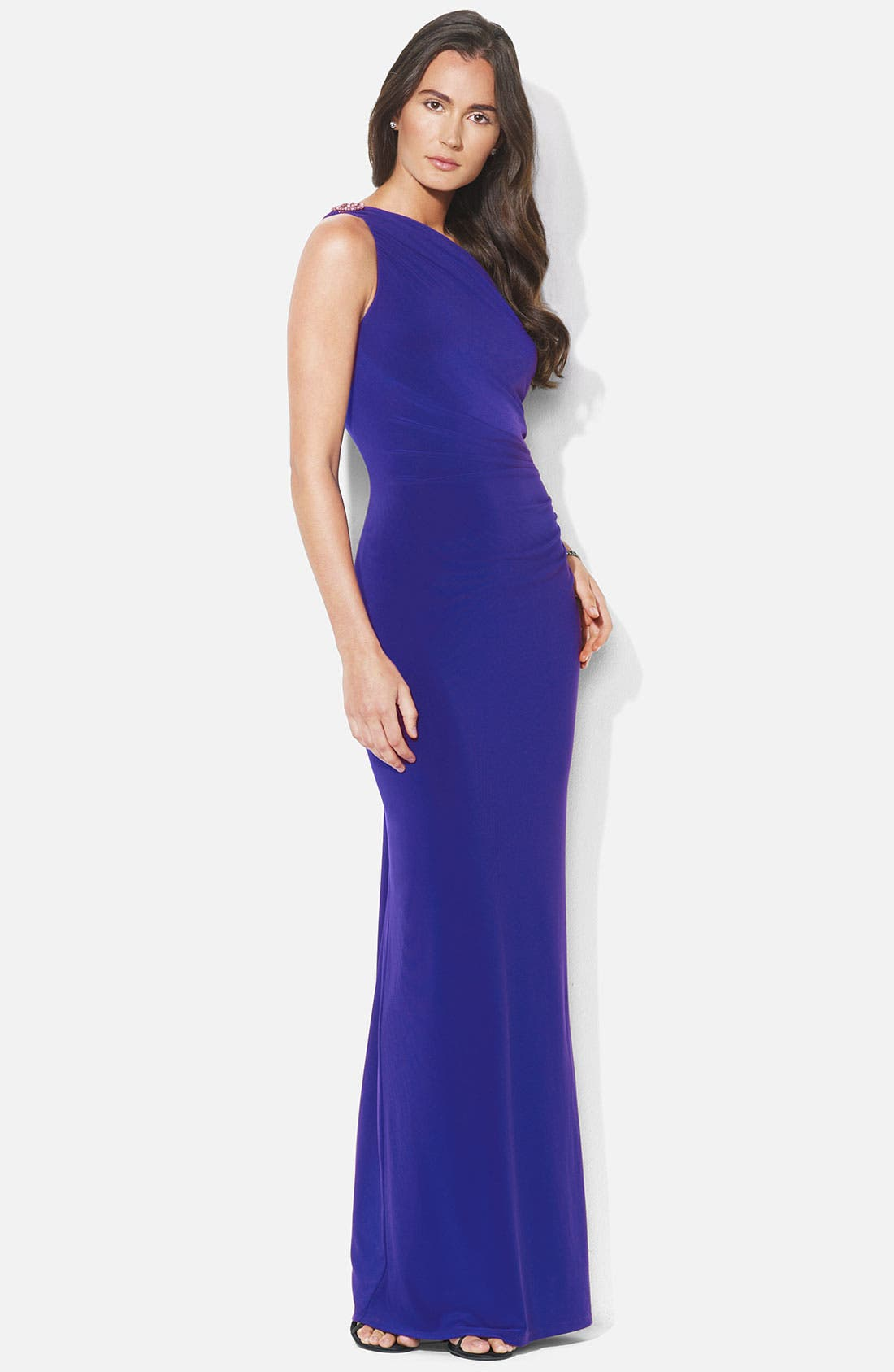 Main Image - Lauren Ralph Lauren One Shoulder Matte Jersey Gown