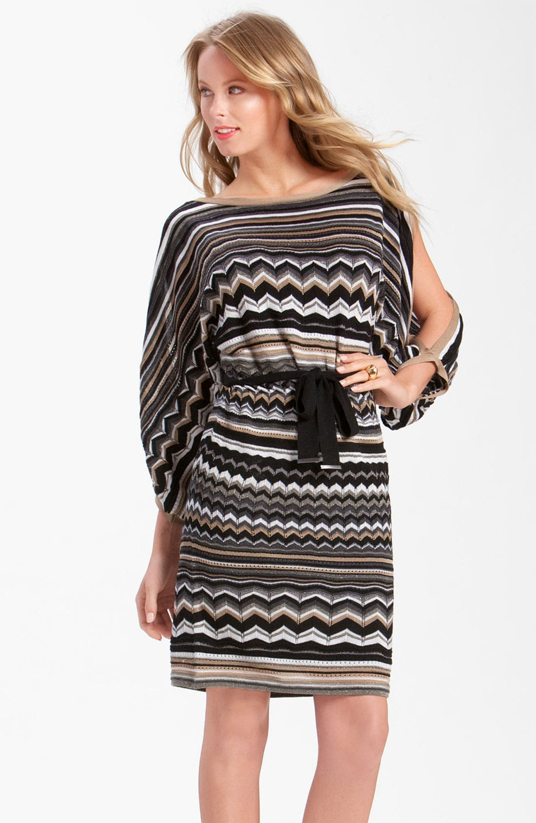 Alternate Image 1 Selected - Laundry by Shelli Segal Split Sleeve Blouson Sweater Dress (Petite)