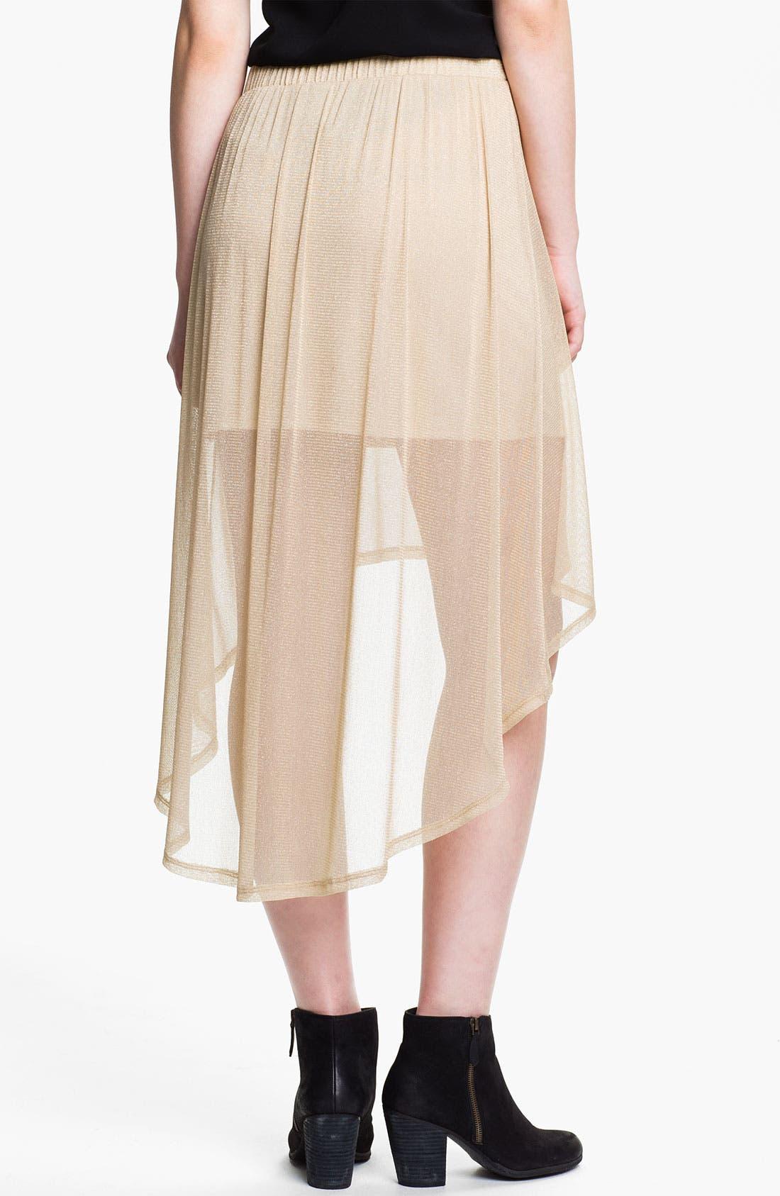 Alternate Image 2  - h.i.p. Metallic Half-Sheer High/Low Skirt (Juniors)
