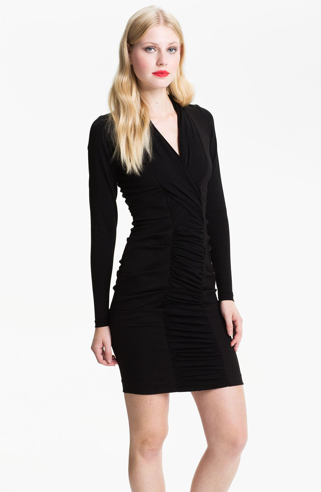 Alternate Image 1 Selected - Nicole Miller Long Sleeve Ruched Panel Ponte Sheath Dress