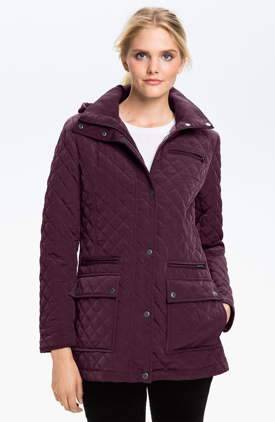 Alternate Image 1 Selected - Calvin Klein Quilted Jacket with Detachable Hood